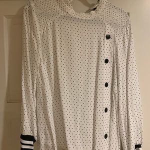 Zara Polka Dot Top with Striped Sleeves